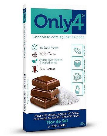 Chocolate 70% Cacau com Açúcar de Coco (Flor de Sal) 80g - Only4