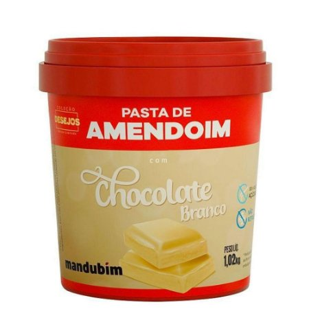 Pasta de Amendoim Com Chocolate Branco - 1,02kg - Mandubim