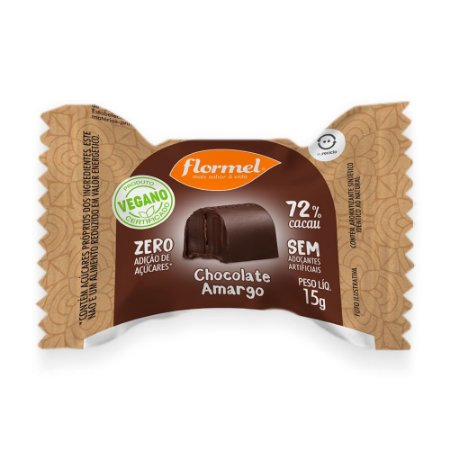 Bombom 72% Cacau Vegano (Sem Açúcar) 15g - Flormel