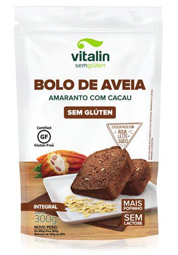 Mistura para Bolo de Aveia Sem Glúten (sabor Amaranto e Cacau) 300g - Vitalin