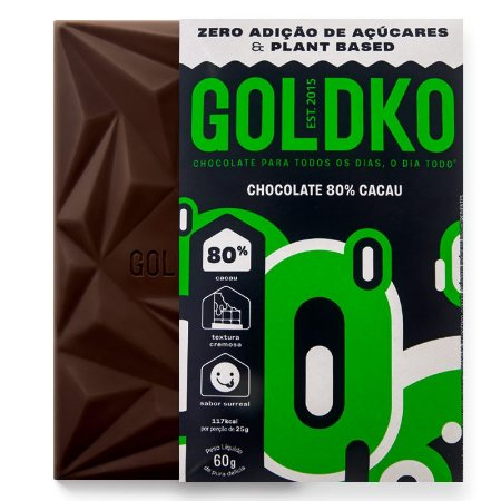 Chocolate 80% Cacau (Zero Açúcar / Plant Based) 60g - GoldKo