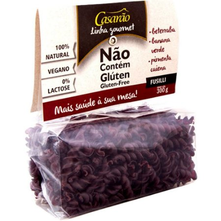 Macarrão de Arroz Fusilli Beterraba, Banana Verde e Pimenta Caiena - 300g - Casarão