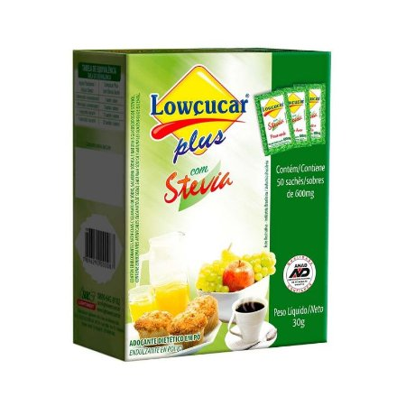 Adoçante Dietético em Pó Plus com Stevia - 30g (50 Sachês) - Lowçucar