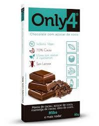 Chocolate 70% Cacau Com Açúcar de Coco e Nibs - 80g - Only4