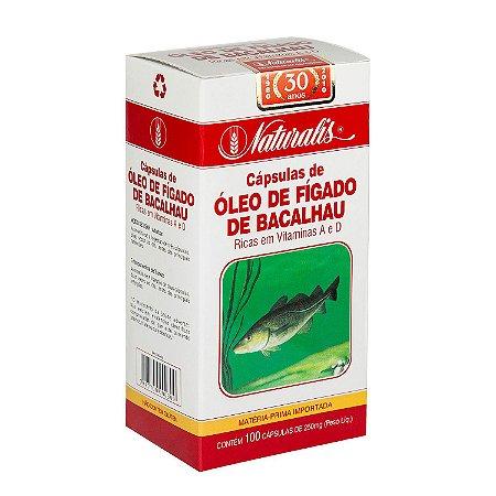 Óleo de Fígado de Bacalhau Fonte de Vitamina A e D - 100 Cápsulas (250mg) - Naturalis