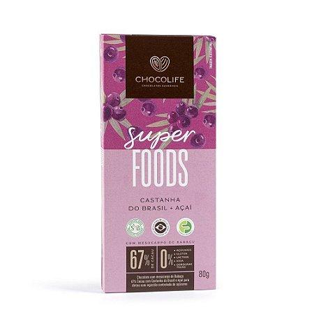 Chocolate 67% Cacau com Castanha do Brasil e Açaí - 80g - Chocolife