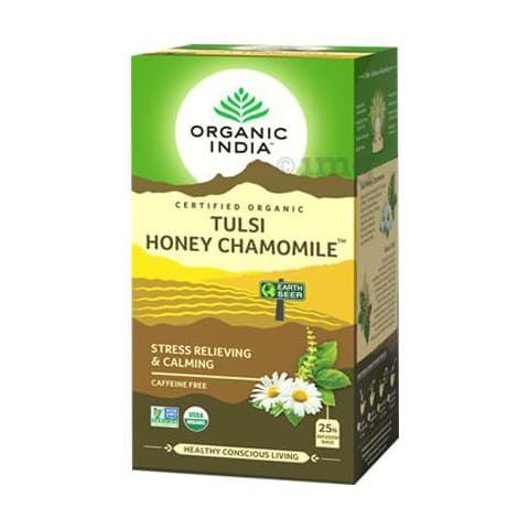 Chá Tulsi Mel e Camomila - 25 sachês - Organic India