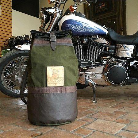 Saco de Bagagem em Lona e Couro Escuro Custom Rústico Moto
