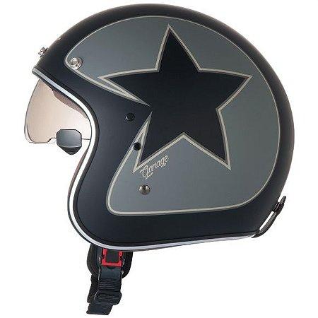 Capacete ZEUS 380FA STAR Preto Fosco e Cinza