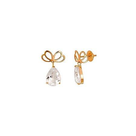 Brincos em Ouro 18K e cristais de rocha, coleção Proteção