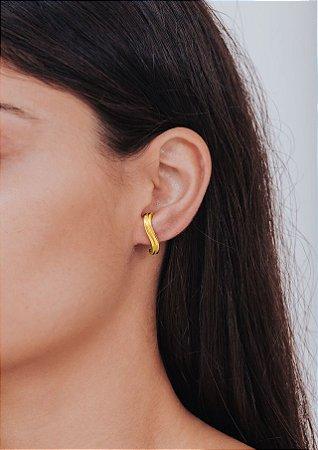 Brincos Ear Hook em Prata de Lei com revestimento em Ouro