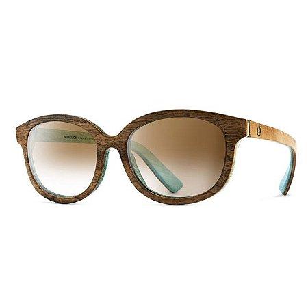 Óculos de Madeira Notiluca Elô Marrom Azul Claro