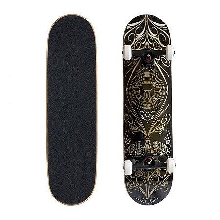 Skate Completo Black Sheep Profissional Gold Black 8.0