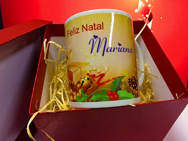 Caneca de porcelana Natal - nome personalizado