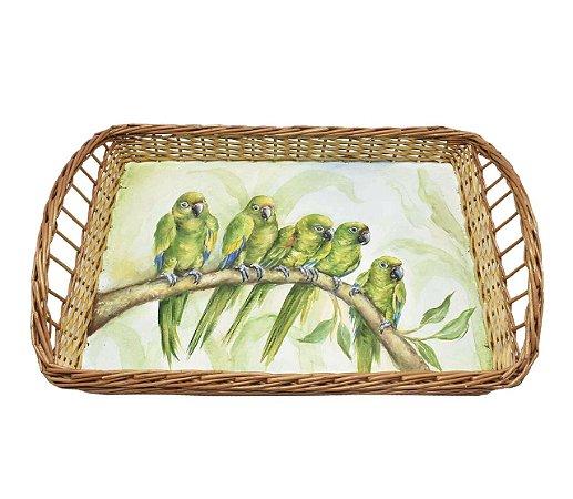 Bandeja retangular vime M pintura pássaros