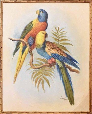 Quadro lona pintada a óleo dois pássaros 1