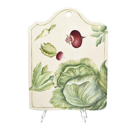 Tábua de cerâmica M com desenho legumes - sob encomenda
