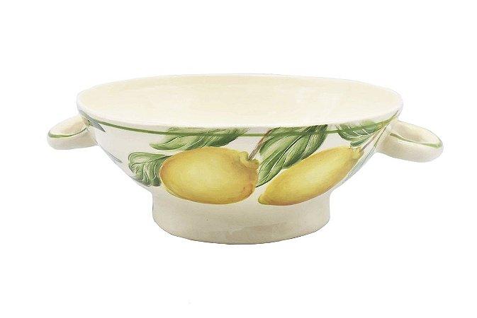 Escorredeira rasa com alça e desenho limões e legumes - sob encomenda