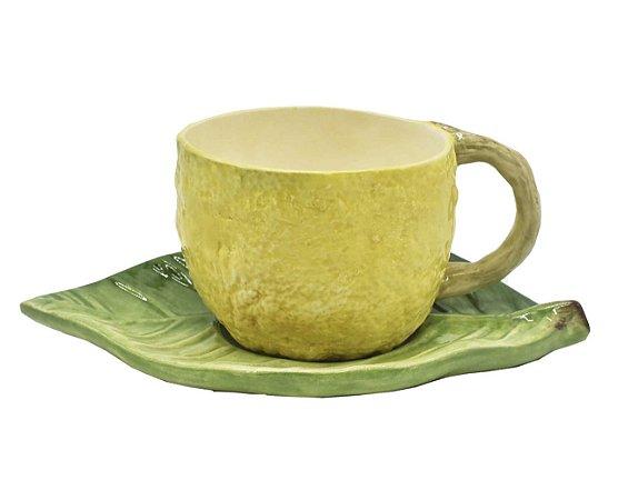 Xícara de chá limão pires folha - sob encomenda