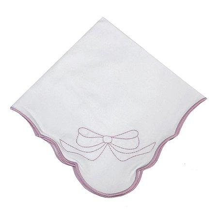 Guardanapo algodão guirlanda com laço rosa