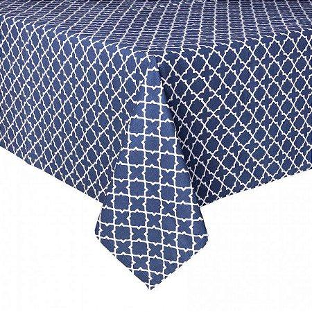 Toalha de mesa ladrilhos azul e branco 1,80 x 1,80m