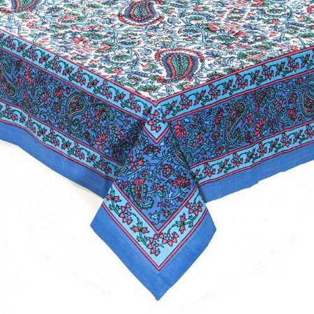 Toalha de mesa paisley azul, verde e vermelho 1,80 x 2,60m