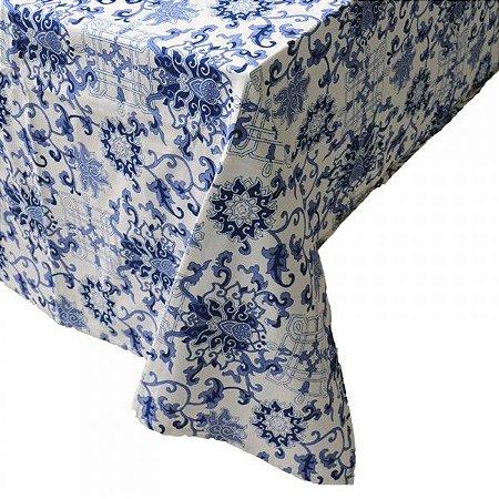 Toalha de mesa arabescos azuis 1,80 x 1,80m