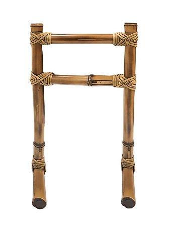 Porta toalha bambu lavabo com amarração