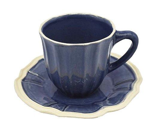 Xícara de chá casual denim com borda faiança