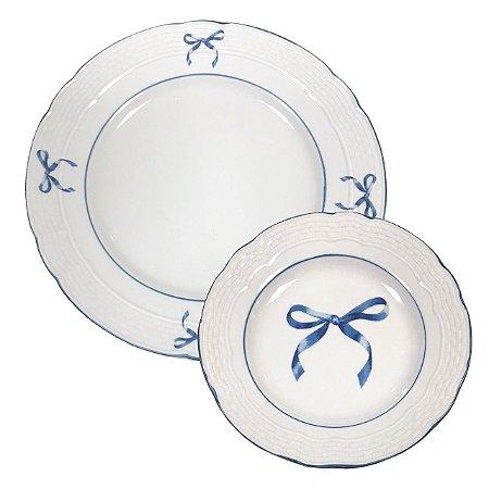Duo prato raso e sobremesa laço azul