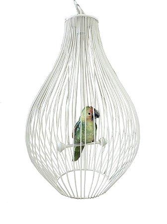 Lustre gaiola off white com papagaio