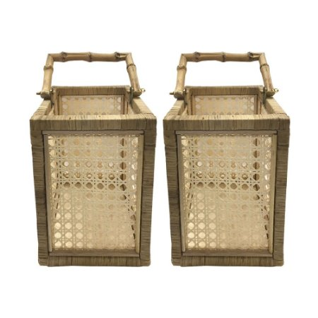 Lanterna de bambu e palha (dupla)