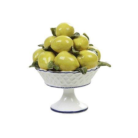 Fruteira P de limões sicilianos com pé e friso azul