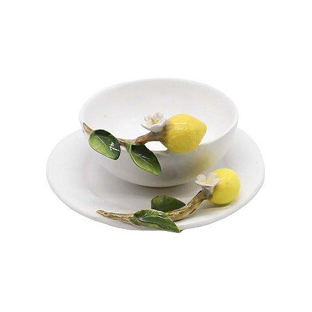 Bowl galho limão siciliano com pires
