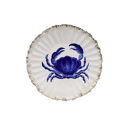 Prato sobremesa amassado com desenho caranguejo azul