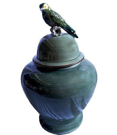 Potiche de Pássaro Verde Celadon
