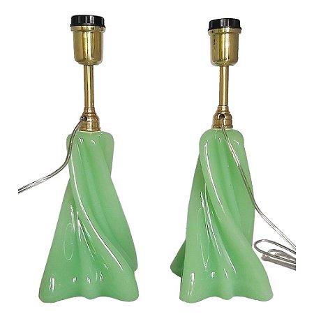 Par de abajures Baccarat opalina verde