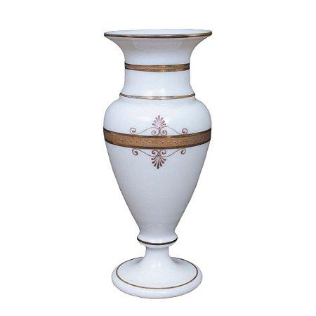 Vaso opalina branco com dourado