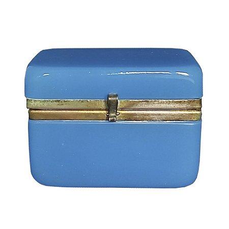 Caixa francesa opalina azul século XIX