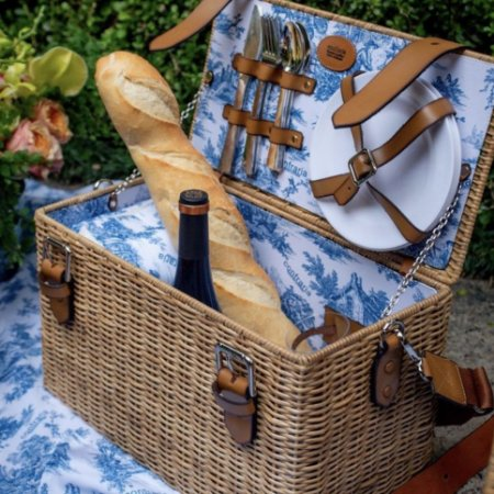 Cesta de picnic Bordeaux toile azul