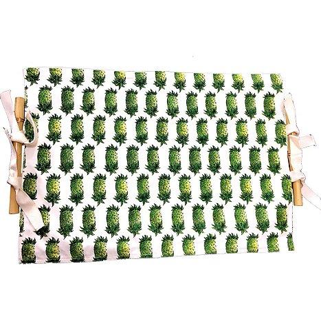Jogo Americano Dupla Face Abacaxi Verde e Sarja Cru com Bambu Natural