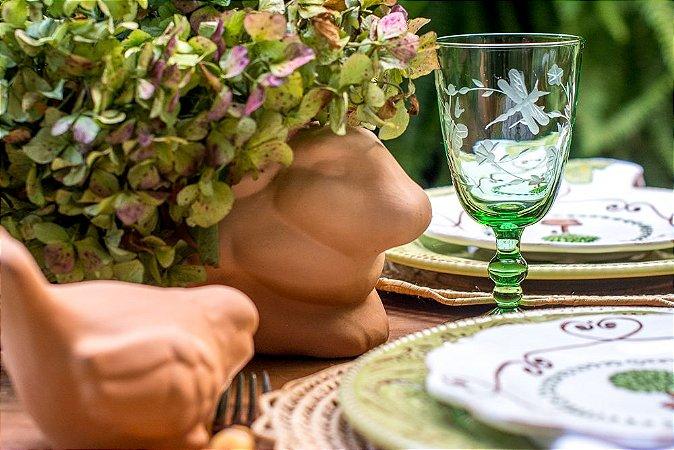 Taça Lapidada Com Flores e Borboletas(cj com 6)