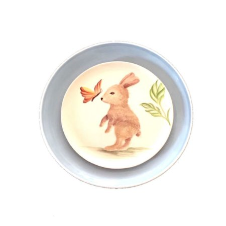 Prato Baby Bunny (raso azul+ pintado à mão Sobremesa)