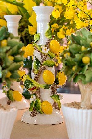 Castiçal de Limão Siciliano com Passarinhos (pintado á mão)