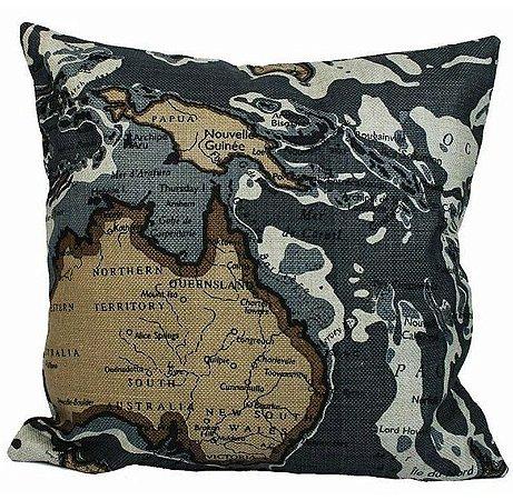Capa de Almofada Mapa Austrália 48x48 cm