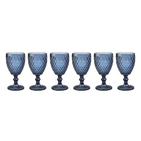 Taça Vinho Bico de Abacaxi Azul (cj com 6)
