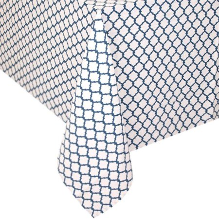 Toalha de mesa casulos azul e branca 1,80 x 3,00