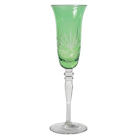 Taça de Champagne em cristal de Vidro Verde Lapidado (cj com 6)