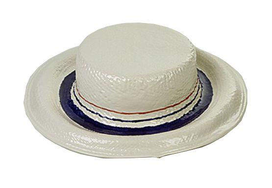 Chapéu Palha em Cerâmica faixas azul marinho e vermelho Zanatta Casa