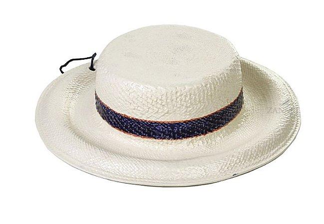 Chapéu com aba e listras azul e contorno coral Zanatta Casa